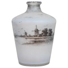 "Daum Nancy Enameled and Acid Etched Decorated Glass Decanter, ""Dutch Landscape"""