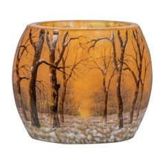 "Daum Nancy Enameled and Internally Decorated Glass Vase, ""Winter Landscape"""