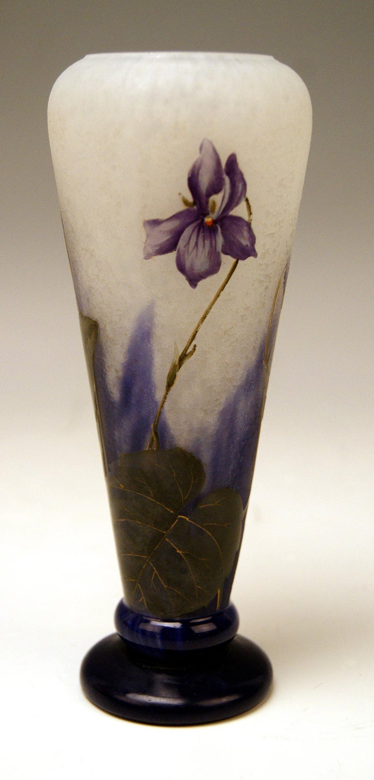 French Daum Nancy France Art Nouveau Early Vase with Violets Flowers Made, circa 1895