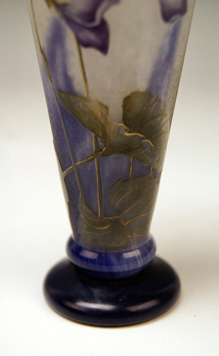 Etched Daum Nancy France Art Nouveau Early Vase with Violets Flowers Made, circa 1895 For Sale