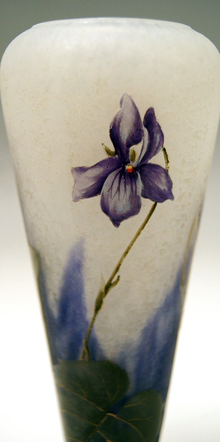 Late 19th Century Daum Nancy France Art Nouveau Early Vase with Violets Flowers Made, circa 1895 For Sale