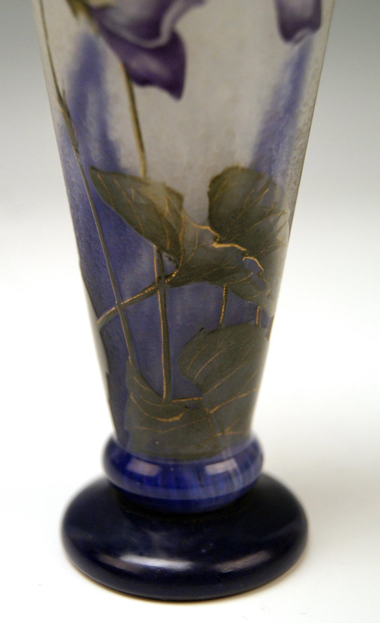 Glass Daum Nancy France Art Nouveau Early Vase with Violets Flowers Made, circa 1895 For Sale
