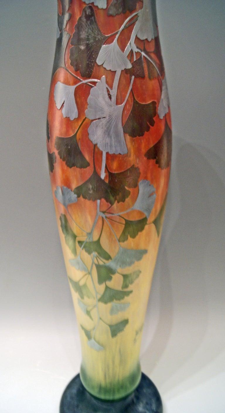 Daum Nancy France Art Nouveau Huge Vase Gingko Leaves, circa 1900 For Sale 3