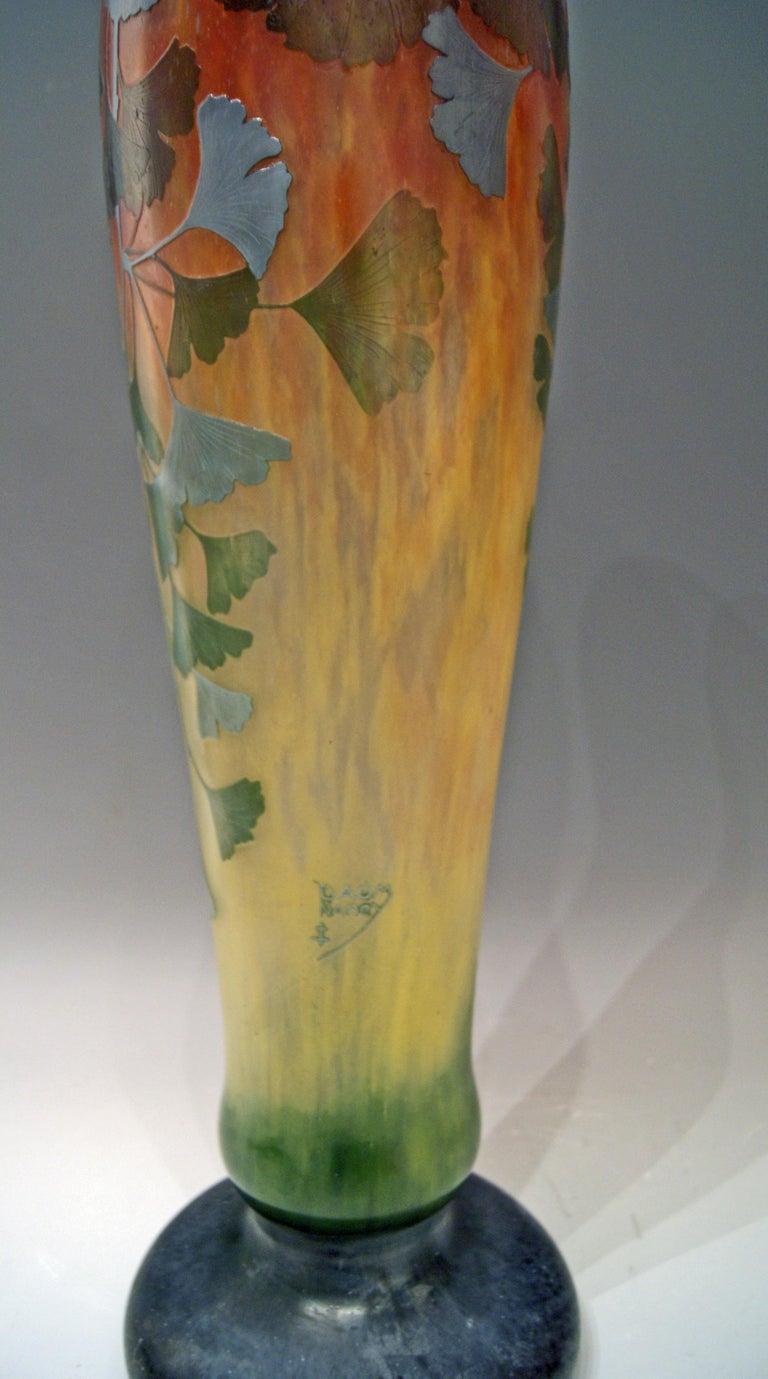 Daum Nancy France Art Nouveau Huge Vase Gingko Leaves, circa 1900 For Sale 5