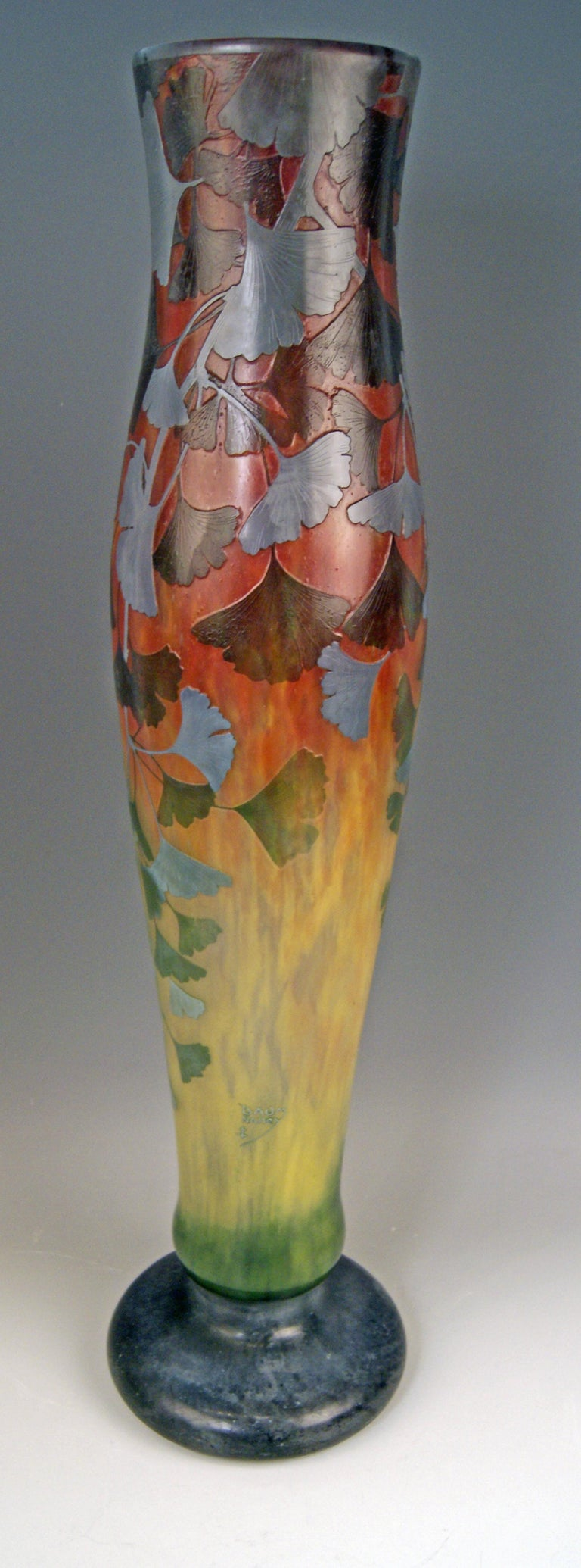 Daum Nancy Cameo Finest as well as Rarest Art Glass Stalky Vase of Art Nouveau Period. Excellently decorated with interesting patterns: These are gingko leaves !  Manufactory:Daum Frères / made in France (Nancy, Lorraine), circa 1900.