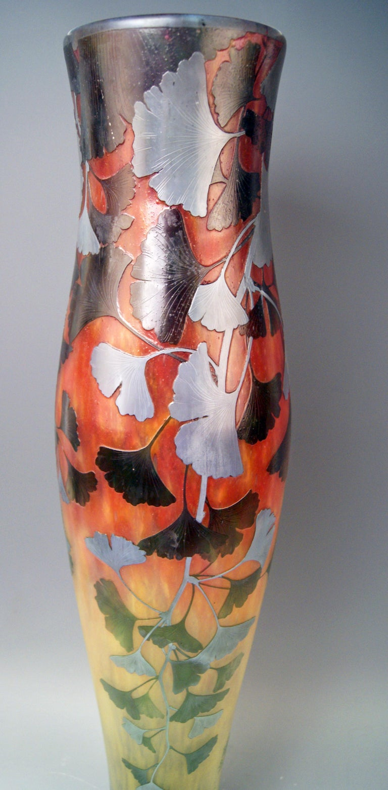 French Daum Nancy France Art Nouveau Huge Vase Gingko Leaves, circa 1900 For Sale