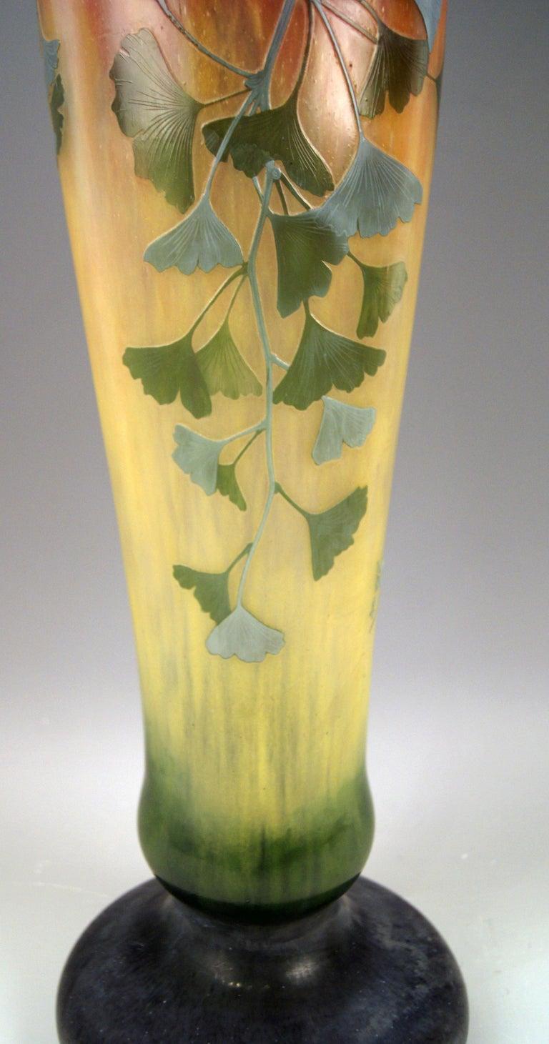 Etched Daum Nancy France Art Nouveau Huge Vase Gingko Leaves, circa 1900 For Sale