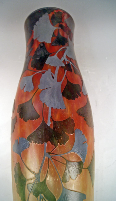 Early 20th Century Daum Nancy France Art Nouveau Huge Vase Gingko Leaves, circa 1900 For Sale