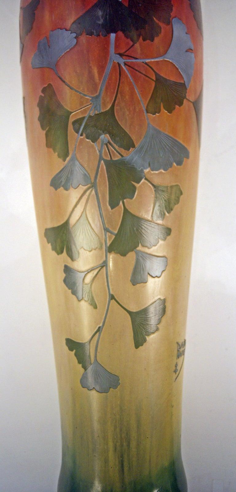 Glass Daum Nancy France Art Nouveau Huge Vase Gingko Leaves, circa 1900 For Sale