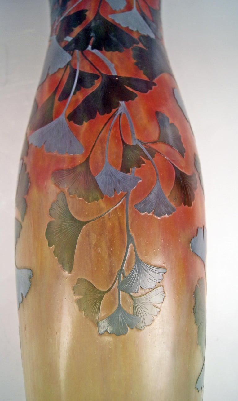 Daum Nancy France Art Nouveau Huge Vase Gingko Leaves, circa 1900 For Sale 1