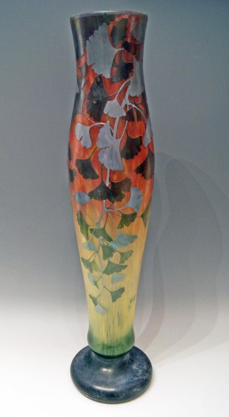 Daum Nancy France Art Nouveau Huge Vase Gingko Leaves, circa 1900 For Sale 2