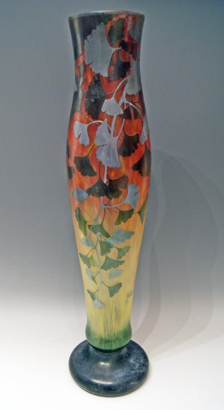 Daum Nancy France Art Nouveau Huge Vase Gingko Leaves, circa 1900 2
