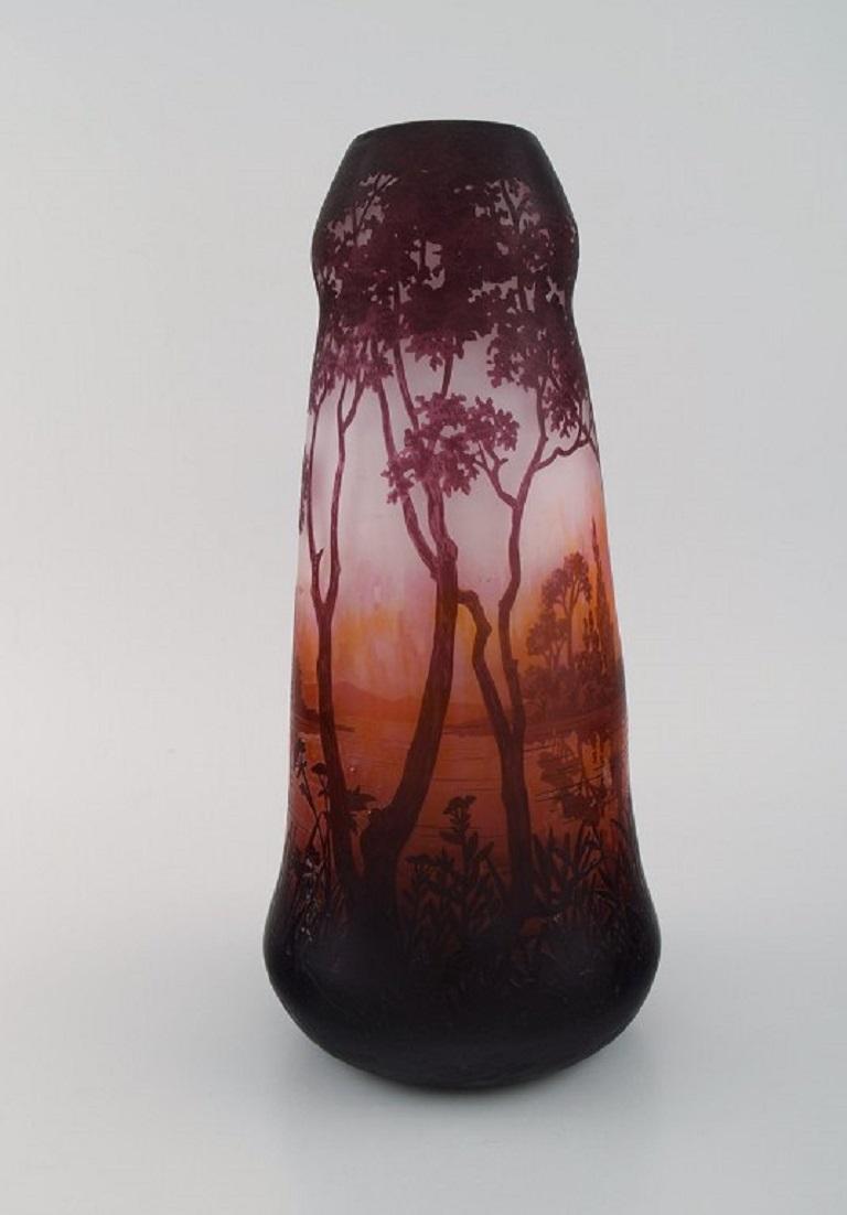 Art Nouveau Daum Nancy, France, Large Antique Vase in Art Glass with Landscape and Trees For Sale