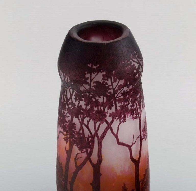 French Daum Nancy, France, Large Antique Vase in Art Glass with Landscape and Trees For Sale