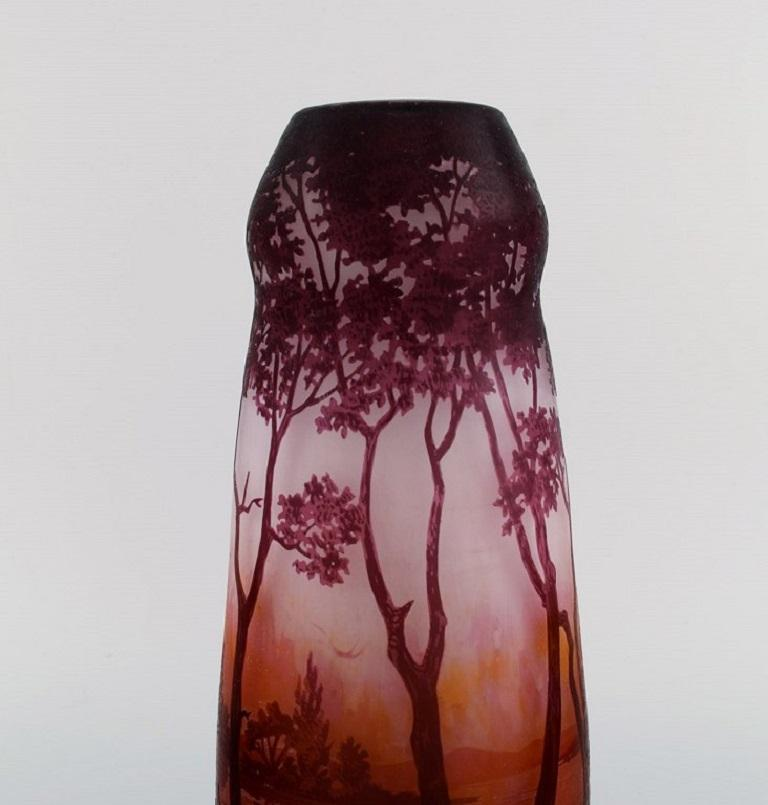 Etched Daum Nancy, France, Large Antique Vase in Art Glass with Landscape and Trees For Sale
