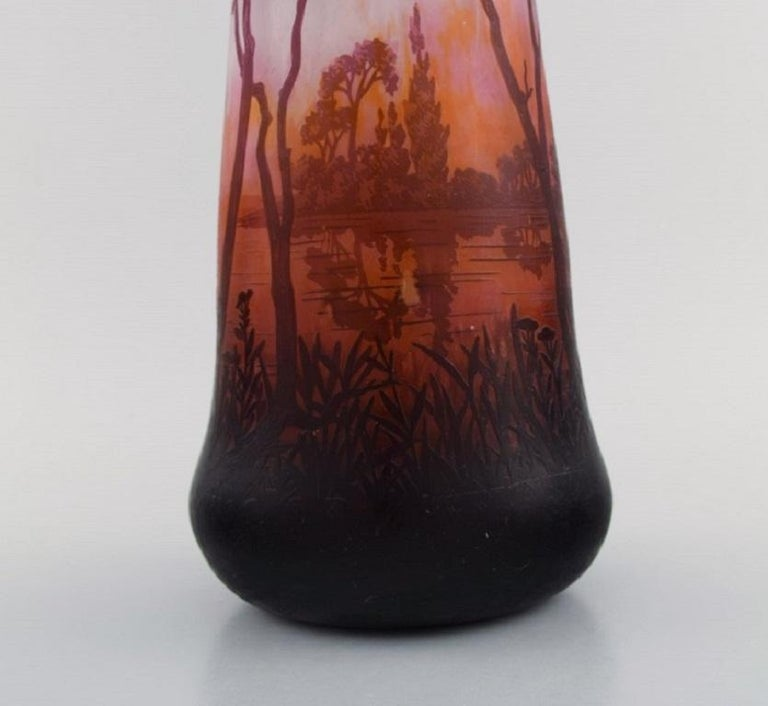 Early 20th Century Daum Nancy, France, Large Antique Vase in Art Glass with Landscape and Trees For Sale