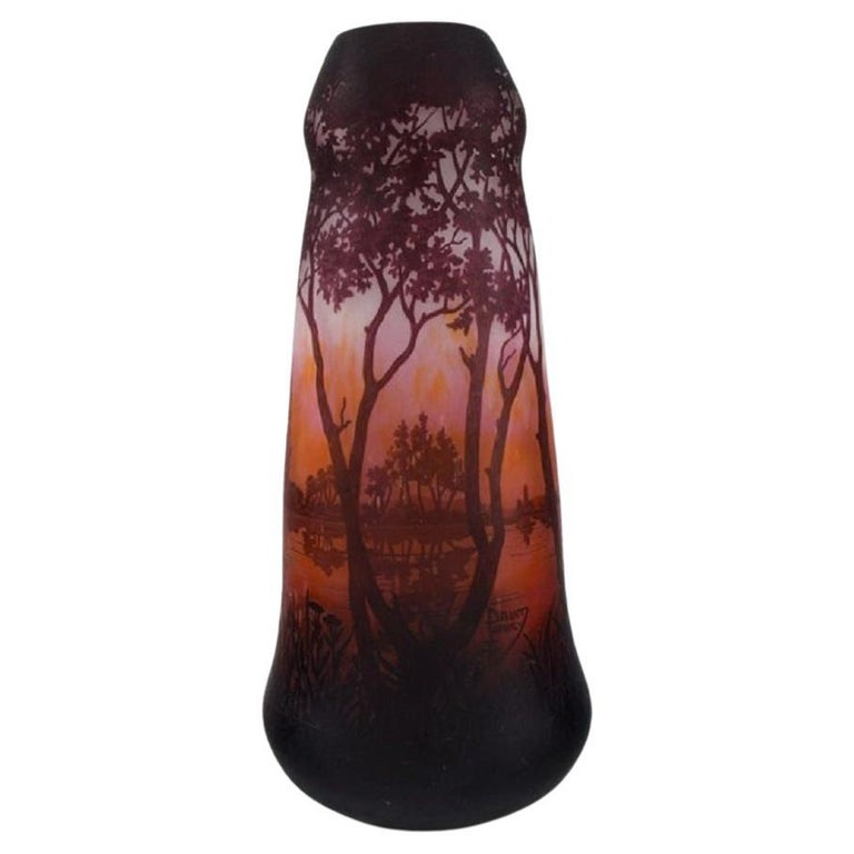 Daum Nancy, France, Large Antique Vase in Art Glass with Landscape and Trees For Sale