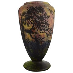 Daum Nancy, France, Large Vase in Mouth Blown Art Glass Decorated with Landscape