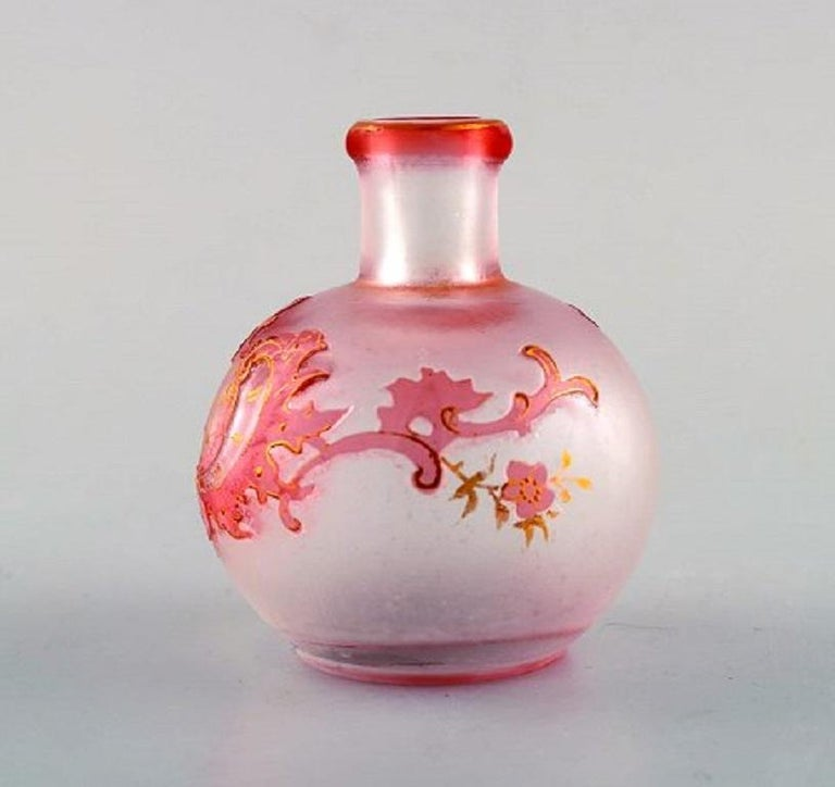 French Daum Nancy, France, Pink Art Nouveau Miniature Vase in Hand Painted Art Glass For Sale