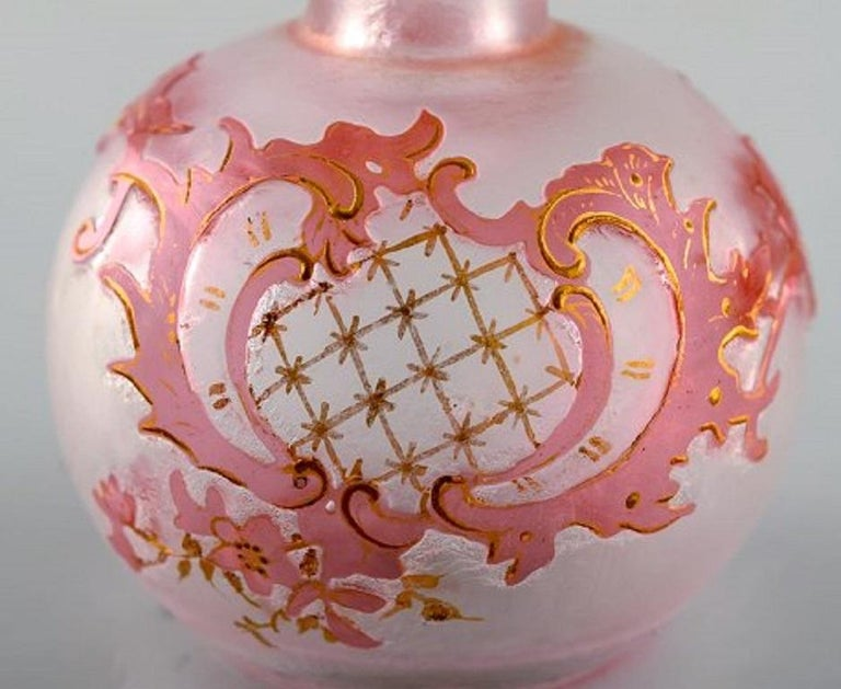 Early 20th Century Daum Nancy, France, Pink Art Nouveau Miniature Vase in Hand Painted Art Glass For Sale
