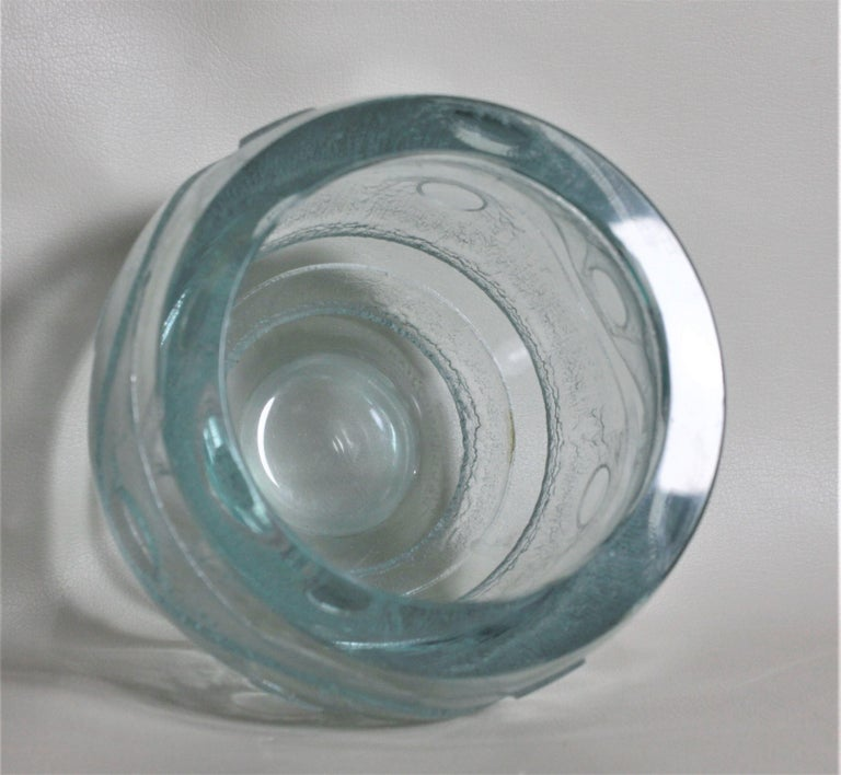 Daum Nancy French Art Deco Acid Etched Green Art Glass Vase For Sale 2