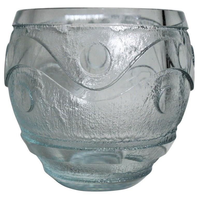 Daum Nancy French Art Deco Acid Etched Green Art Glass Vase For Sale