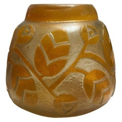 Daum Nancy French Art Deco Acid Etched Pâte-de-Verre Flower Vase, ca. 1930