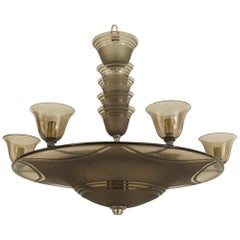 Daum Nancy French Art Deco Smoked Glass Chandelier