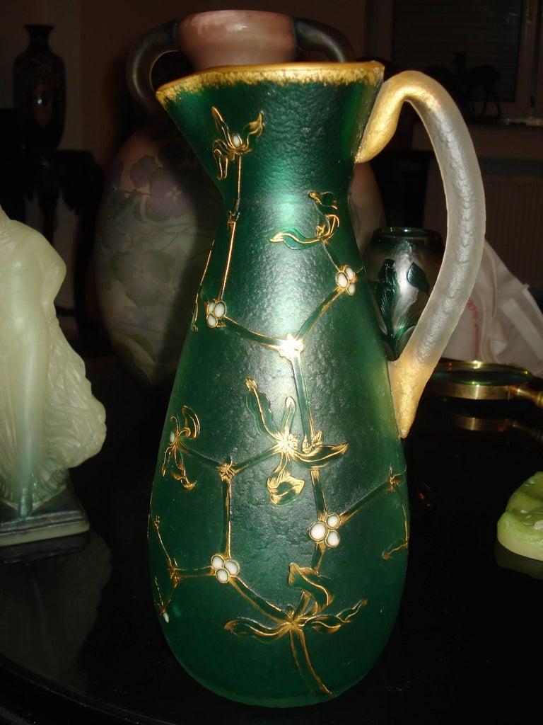 Daum Nancy French Art Nouveau Acid Etched Glass Vase or Pitcher with Enamel For Sale 2