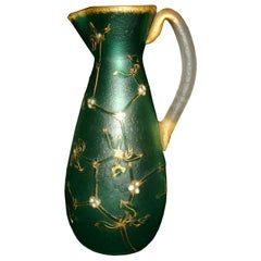 Daum Nancy French Art Nouveau Acid Etched Glass Vase or Pitcher with Enamel