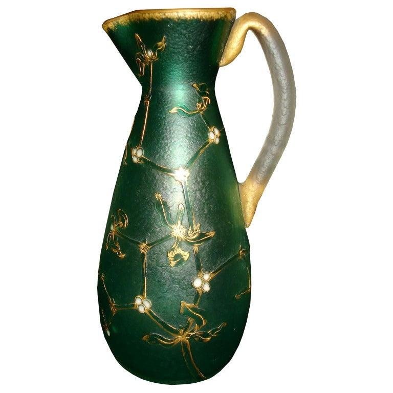Daum Nancy French Art Nouveau Acid Etched Glass Vase or Pitcher with Enamel For Sale