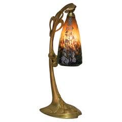 Daum Nancy Glass Dore Bronze Art Nouveau Table Lamp