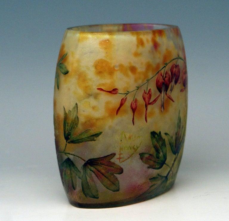 French Daum Nancy Glass Pillow Vase Art Nouveau Bleeding-Hearts France Lorraine 1905 For Sale