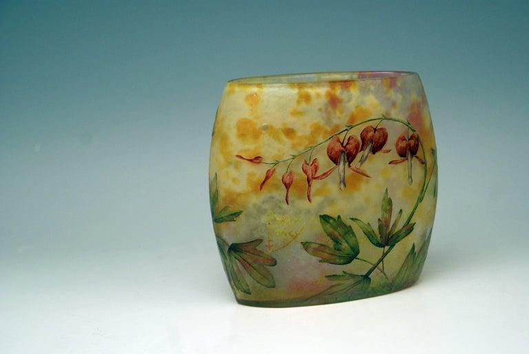 Frosted Daum Nancy Glass Pillow Vase Art Nouveau Bleeding-Hearts France Lorraine 1905 For Sale