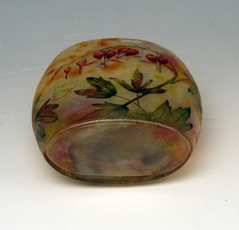 Early 20th Century Daum Nancy Glass Pillow Vase Art Nouveau Bleeding-Hearts France Lorraine 1905 For Sale