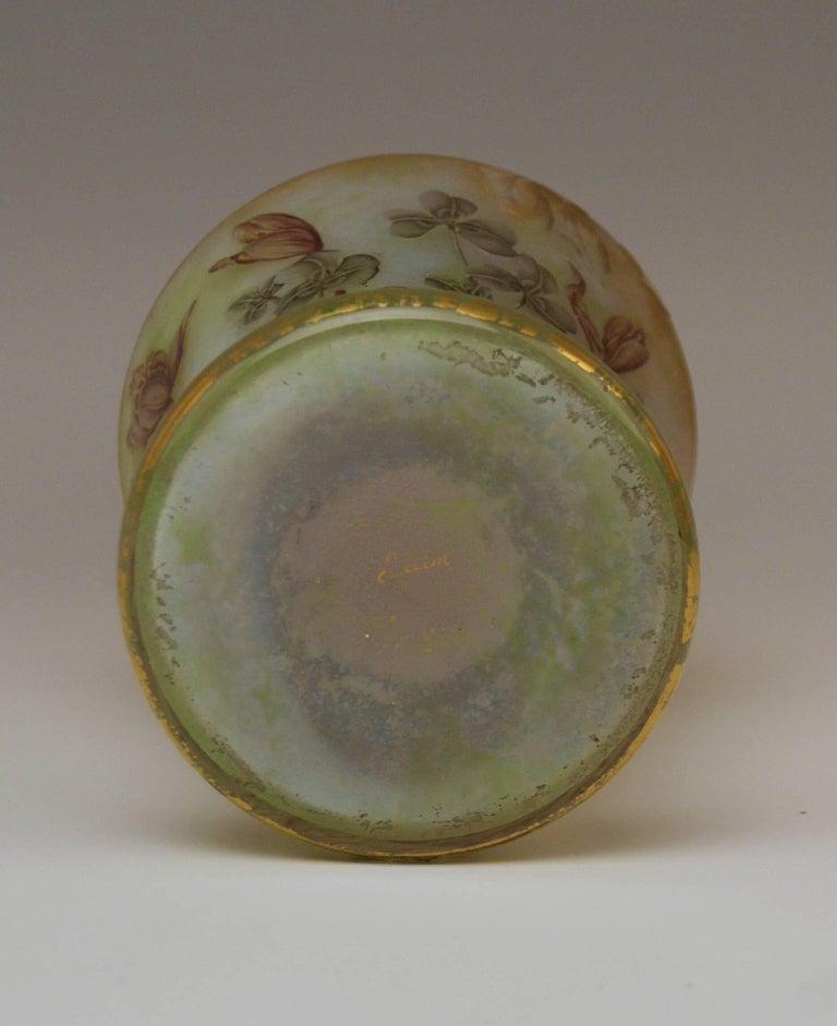 Late 19th Century Daum Nancy Glass Shoulder Vase Art Nouveau Autumn Crocusses France Lorraine 1895 For Sale