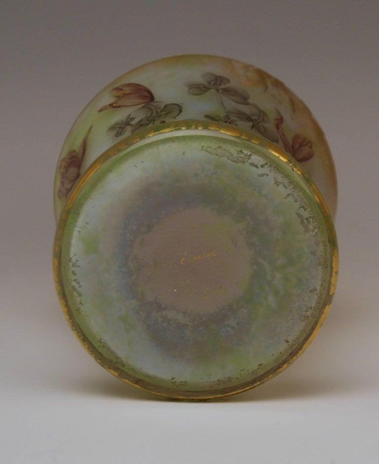 Daum Nancy Glass Shoulder Vase Art Nouveau Autumn Crocusses France Lorraine 1895 For Sale 1