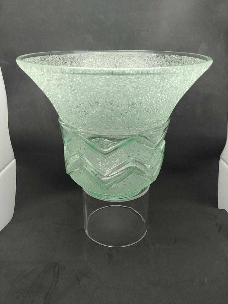 French Daum Nancy Glass Vase Signed with Cross De Lorraine, Art Deco Etched Acid For Sale