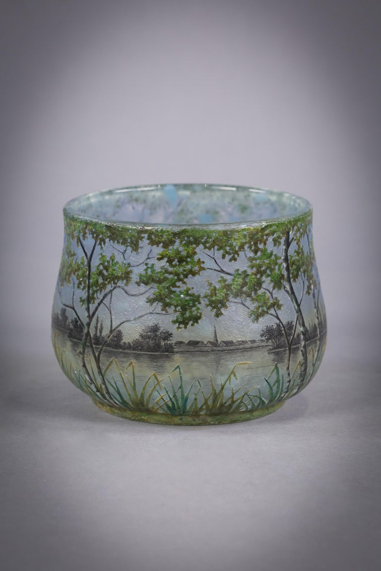 Daum Nancy Landscape Bowl, circa 1900 In Excellent Condition For Sale In New York, NY
