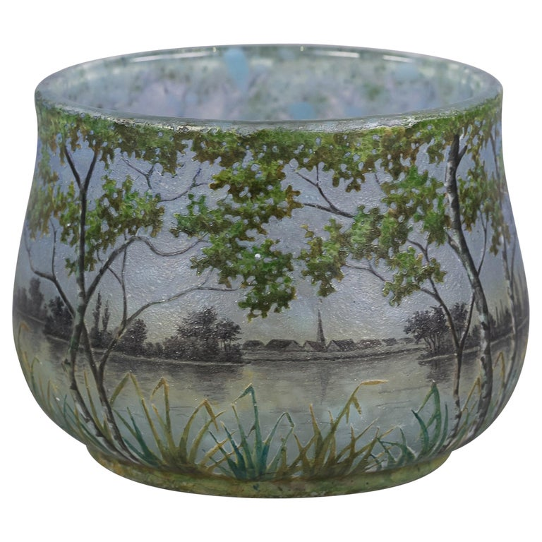 Daum Nancy Landscape Bowl, circa 1900 For Sale