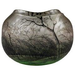 Daum Nancy Rain Scene Vase