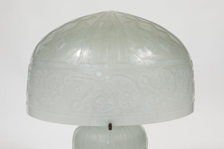 Daum Nancy style domed translucent frosted glass lamp.  A fine reproduction, signed with the 'y' looped around with 2 notches to signify the cross of Lorraine.  Measures: Shade 16