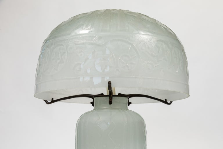 French Daum Nancy Reproduction Domed Lamp For Sale