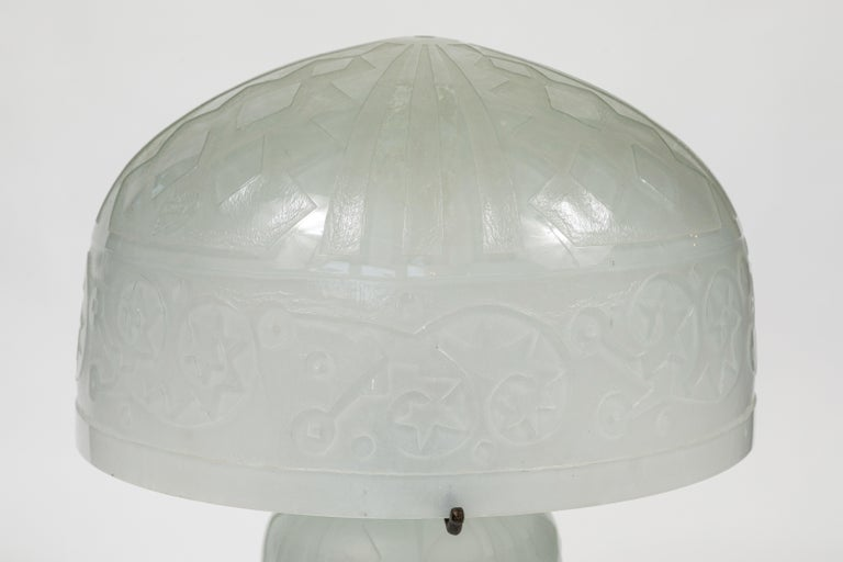 Daum Nancy Reproduction Domed Lamp In Good Condition For Sale In Pasadena, CA