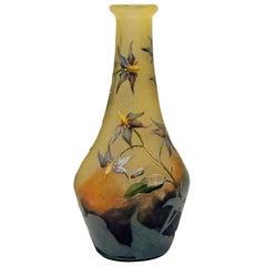 Daum Nancy Vase Art Nouveau Bittersweet Nightshades Blue Bindweeds France, 1910