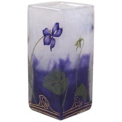 Daum, Nancy 'Violets' Cameo & Enameled Square Section Vase