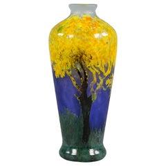 Daum Nancy Vitrified Landscape Vase, circa 1900