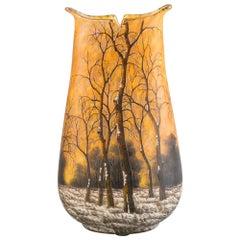 Daum Nancy Winter Landscape Vase, circa 1900