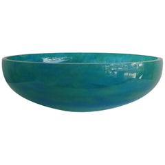Daum of France Vibrant Green Pate de Verre Large Glass Centerpiece Bowl Vase