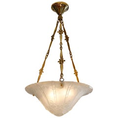 Daum Pierre D'Avesn Large French Art Deco Pendant Chandelier, Early 1930s